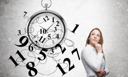 Time management with thoughtful businesswoman and broken clock